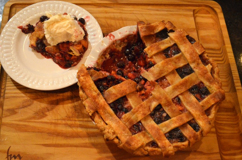 Blueberry and Peach Pie with Cinnamon Sugar Lattice