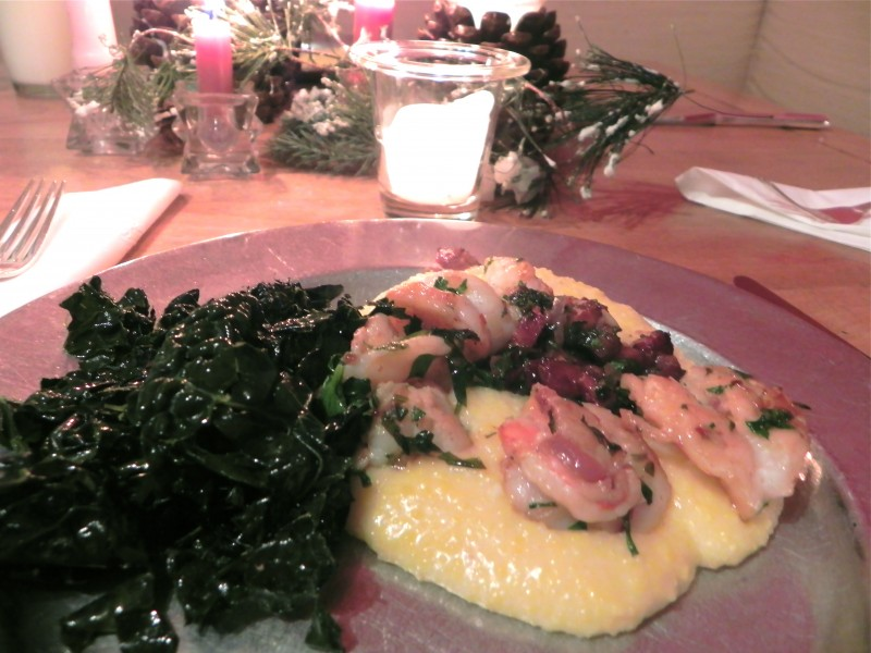 Shrimp & Grits with Sauteed Greens